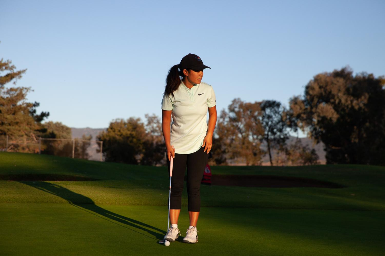 Pratima Sherpa stands on the hole five putting green at the Santa Barbara Golf Club during her 18 hole practice game early Wednesday, Oct. 23, 2019, in Santa Barbara, Calif. Sherpa is working to become the first pro female golfer from Nepal.