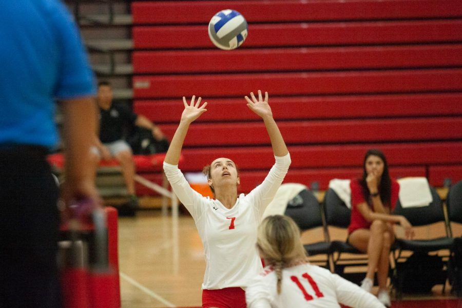 Maranda Newsom (No.7) sets the ball for Madi Mullins (No.11) to spike on Thursday, Oct. 23, 2019, in the Sports Pavilion at City College in Santa Barbara, Calif. The Vaqueros beat Moorpark College 3-2.
