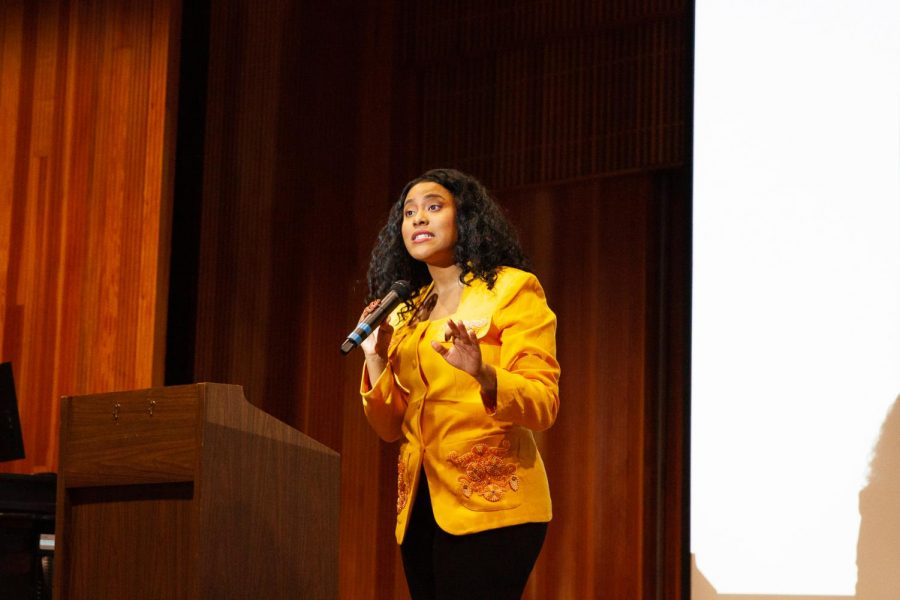 National Immigrants rights activist and undocumented Black DACA recipient Denea Joseph spoke in the Buisness Comunication Center about the challenges undocumented people face and changing the conversation on immagration on Thursday, Oct. 17, 2019, at City College in Santa Barbara, Calif. Joseph has been featured in The Los Angeles Times, Essence, Vogue and The Guardian for her views on immagration and her personal experiences.