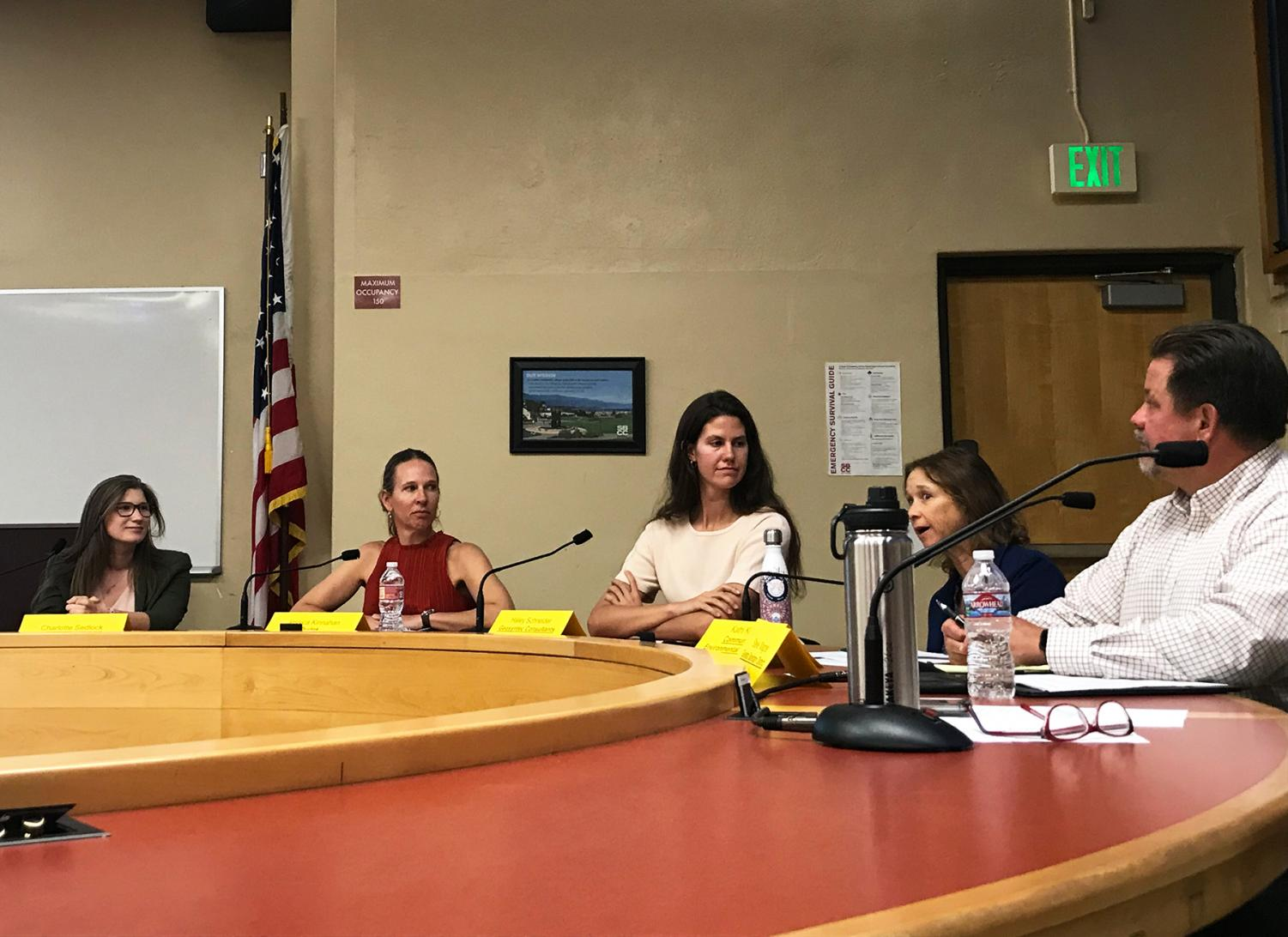 Five panel members talked with students about careers in sustainability on Wednesday, Oct. 23, 2019, in the Administration Building Room 211 at City College in Santa Barbara, Calif.
