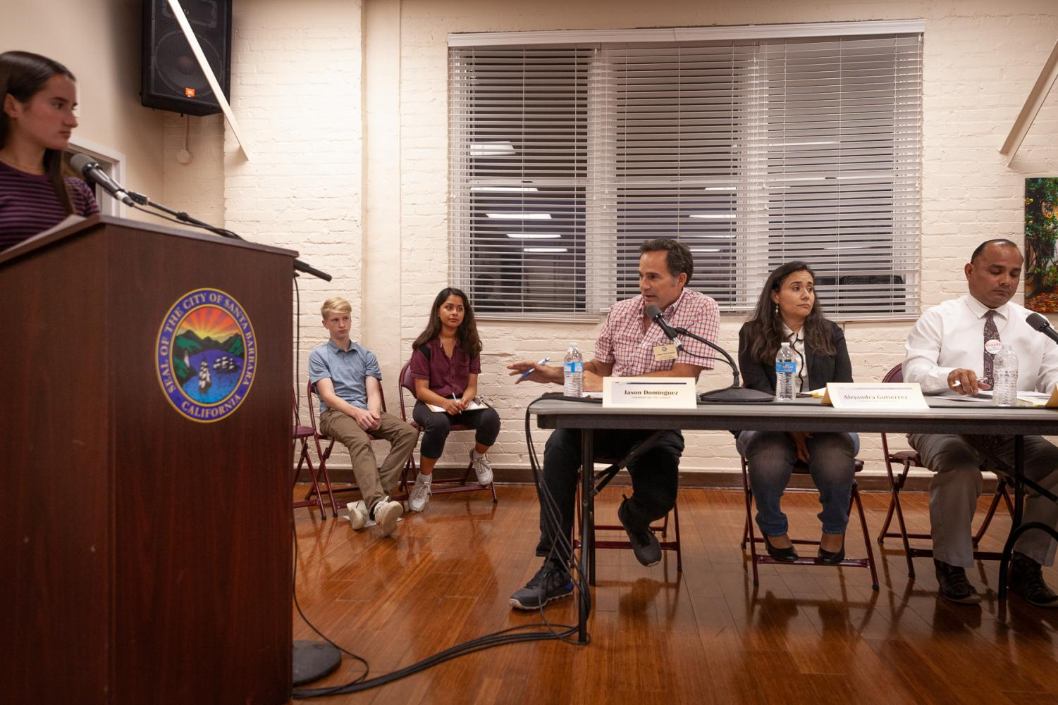 Jason Dominguez talks about solutions to vaping products being targeted towards children Monday, in the Louise Lowry Davis Center in Santa Barbara, Calif.