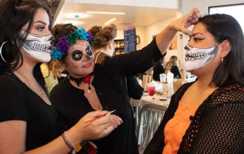 Students came together at the Campus Bookstore to get their faces painted by the cosmetology department On Thursday, Oct. 31, 2019 at City College in Santa Barbara, Calif.