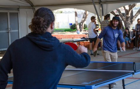 From right, Ben Early plays a friendly match of ping pong with Elliot Kerrin for the Ping Pong Club Tournament on Thursday, Nov. 21, 2019, outside the Student Services Building on East Campus at City College in Santa Barbara, Calif.
