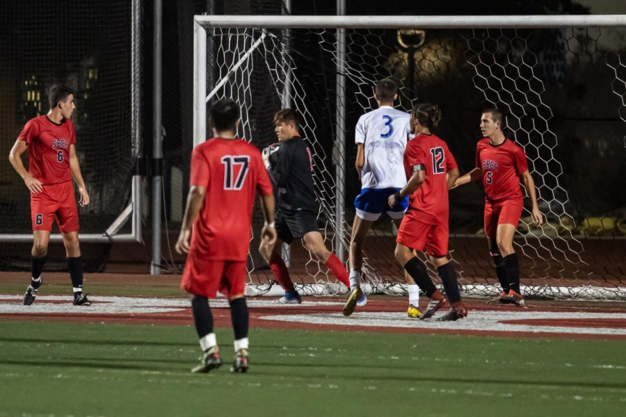 Christopher Robinson (No.10) and Luiz Garcia (No.17) attempt to block a penalty kick from the sideline, as it buzzes over their head they turn to address the other teams offense trying to push through the vaqueros' defense Tuesday, Nov. 5, 2019, at La Playa Stadium at City College in Santa Barbara, Calif.