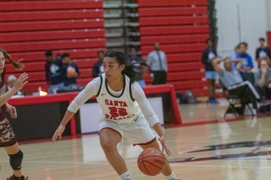 Jade Jones (No.22) breaks away before scoring 3 points on Saturday, Nov. 16, 2019, at the Sports Pavilion at City College in Santa Barbara, Calif.