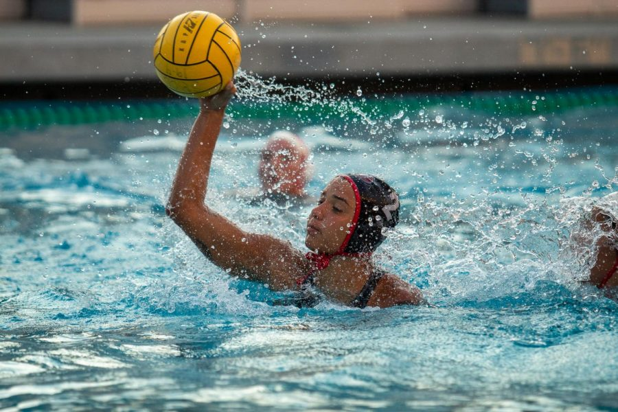 Taylor Brooks (No.2) gets a clean shot off and scores during a game against LA Pierce on Friday, Nov. 1, 2019, at Santa Barbara High School in Santa Barbara, Calif. City College beat LA Pierce 17-4.