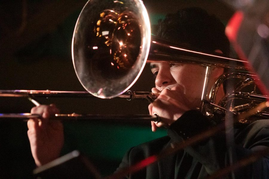 Trombonist%2C+Douglas+Swayne+performs+a+cover+of+Frank+Sinatra%27s+song+%22Fly+Me+to+the+Moon%22+on+Sunday%2C+Nov.+3%2C+2019%2C+at+the+SoHo+Restaurant+and+Music+Club+in+Santa+Barbara%2C+Calif.