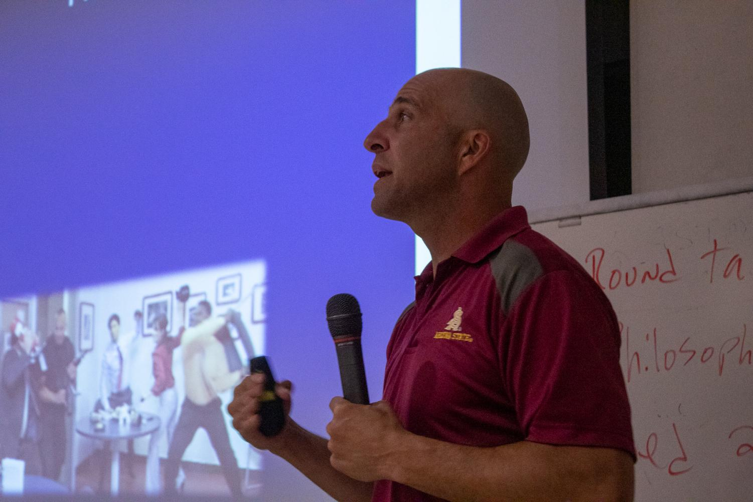 Lt. Shawn Hill explains how to fight in a run, hide or fight scenario on Tuesday, Nov. 19, 2019, in the MacDougall Administration Building at City College in Santa Barbara, Calif. Lt. Hill says to do what you know you can do and not to fight if you're not a fighter.