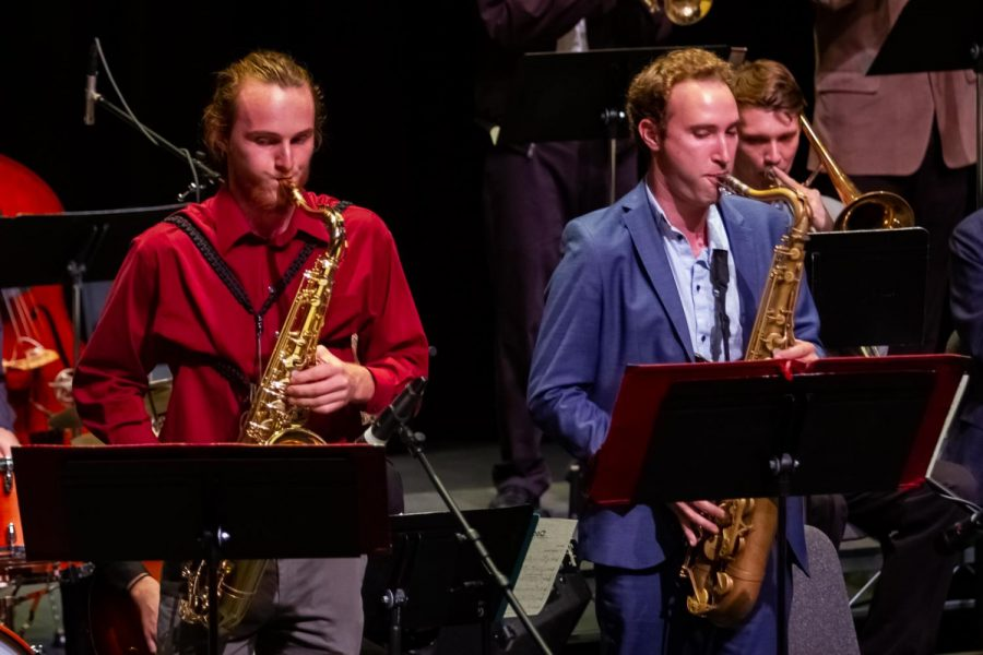 Lunch Break Big Band members Eli Nania (left) and Matt Krepky (right) perform a saxophone duet during the Jazz Ensemble Concert on Monday, Nov. 18, 2019, in the Garvin Theatre at City College in Santa Barbara, Calif. The Lunch Break Big Band performed second, following the Good TImes Big band, and was followed by the Monday Madness Big Band.