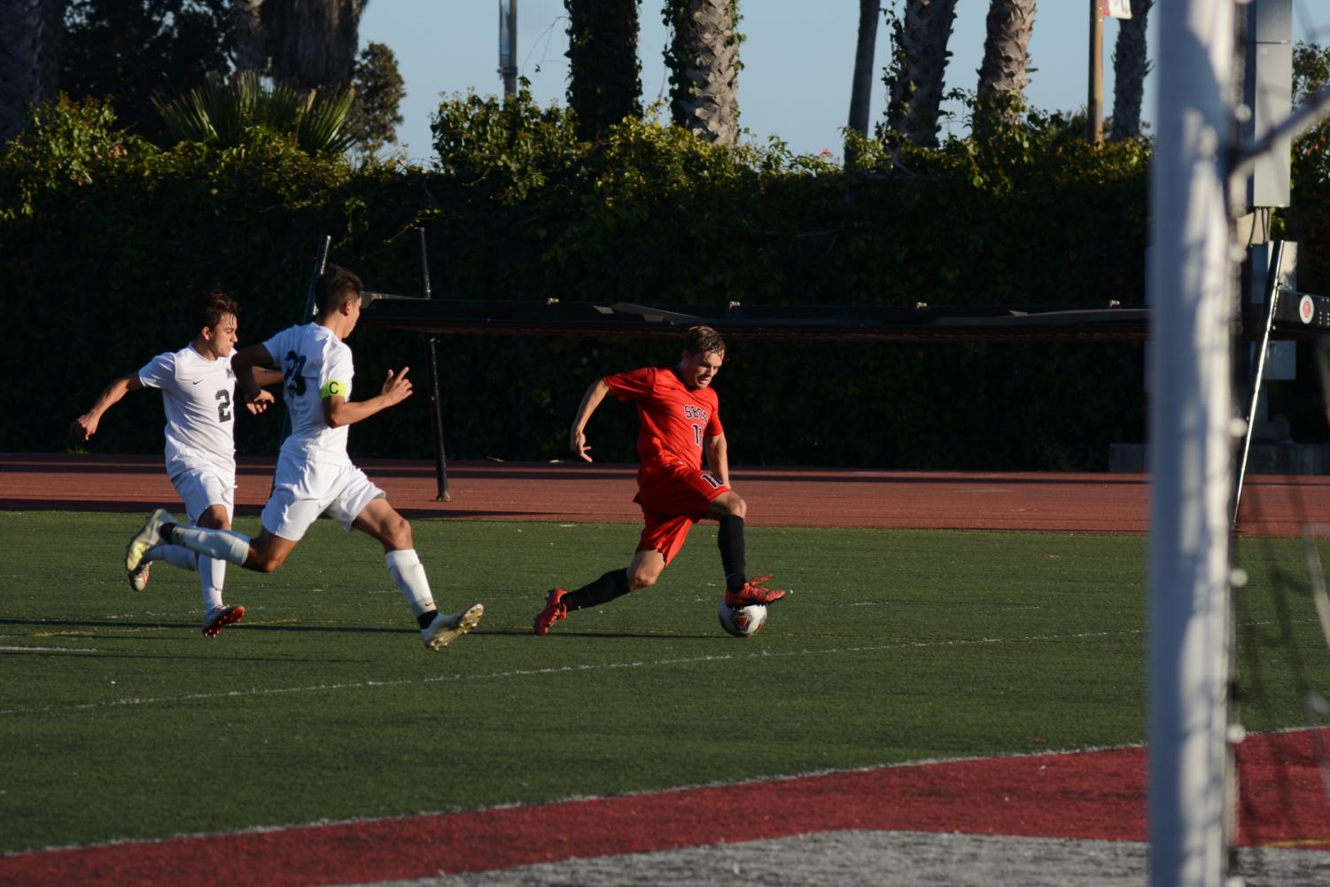 Christopher Robinson (No.10) beats two defenders to charge the goal during the Vaquero's game against Moorpark College on Friday, Nov. 8, 2019, at La Playa Stadium at City College in Santa Barbara, Calif. The Vaqueros won the game 2-1.