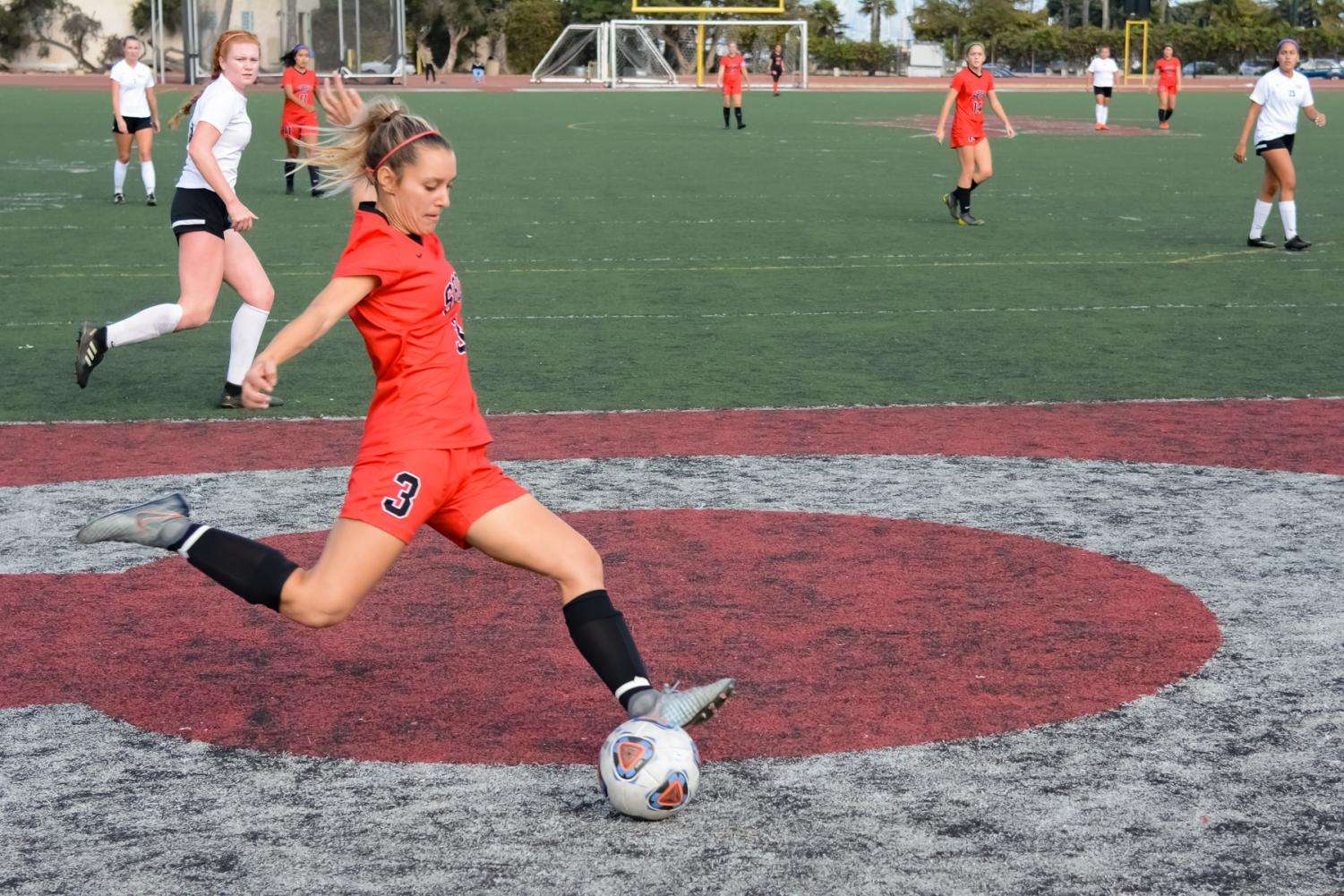 Taylor Valle (No. 3) takes a shot towards the goal during the second half of the game against Moorpark College on Nov. 15, 2019 at La Playa Stadium at City College in Santa Barbara, Calif. The Vaqueros won the game 5-0.