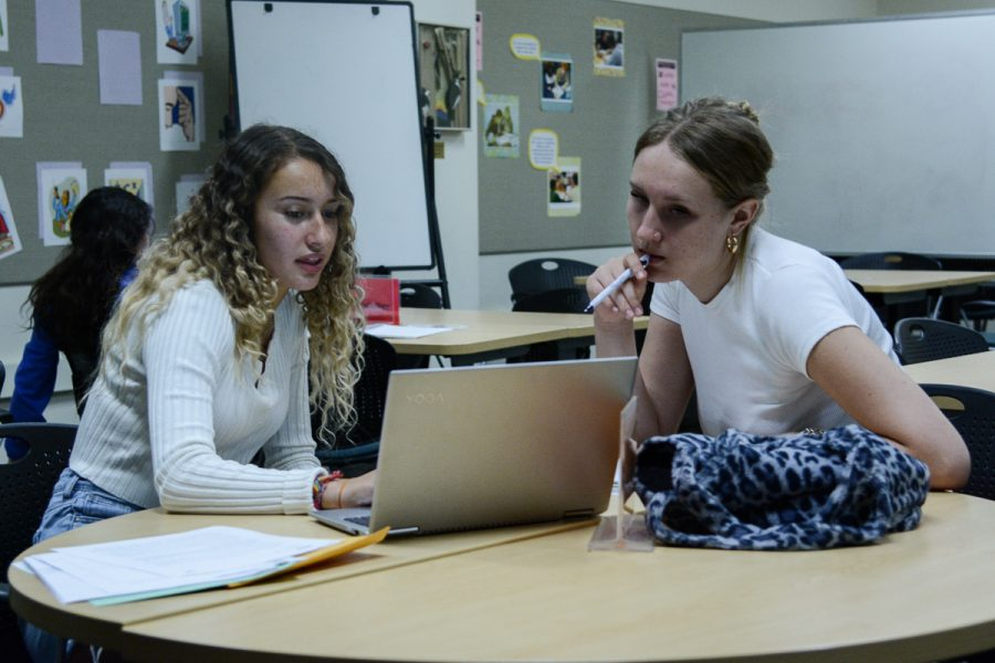 From Left, Tiana Garcia helps Mia Roylance edit the rough draft of an essay she wrote for her English class on Thursday, Oct. 10, 2019, in the Cartwright Learning Center at City College in Santa Barbara, Calif.
