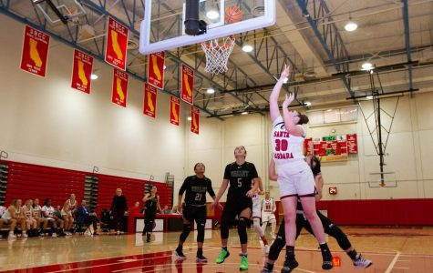 Freshman forward and center player Alyssa De Vries shoots and scores two points contributing to the win for the Vaqueros against the LA Valley College Monarchs on Thursday night, Nov. 21, 2019, in the Sports Pavilion at City College in Santa Barbara, Calif. The Vaqueros are now 5-1 in their league after a final score of 80-56 against The Monarchs.