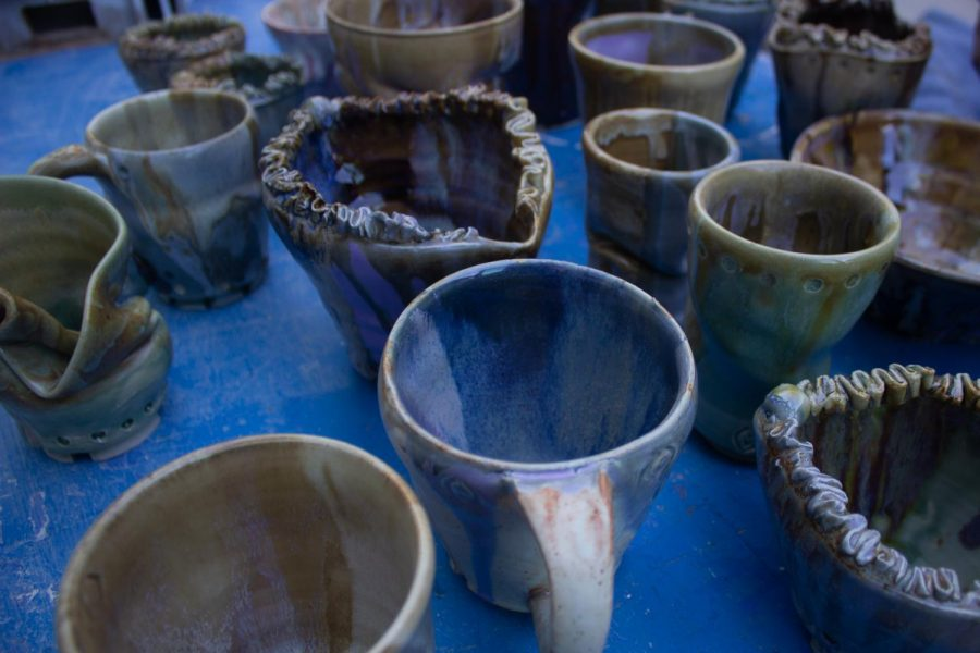 Some of Kamilla Bello's pottery on Wednesday, Nov. 6, 2019, in the Ceramics Room in the Humanities Building at City College in Santa Barbara, Calif.