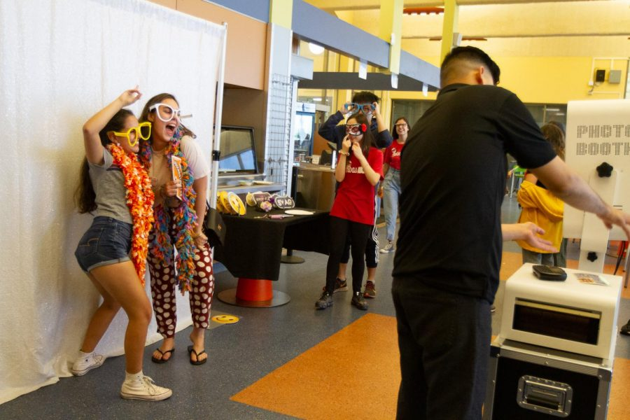 Jazmin Nube (Left) and Rebecca Matyas pose at the photo booth during the annual food fair on Friday afternoon, Nov. 22, 2019 in the East Campus Cafeteria at City College in Santa Barbara, Calif.