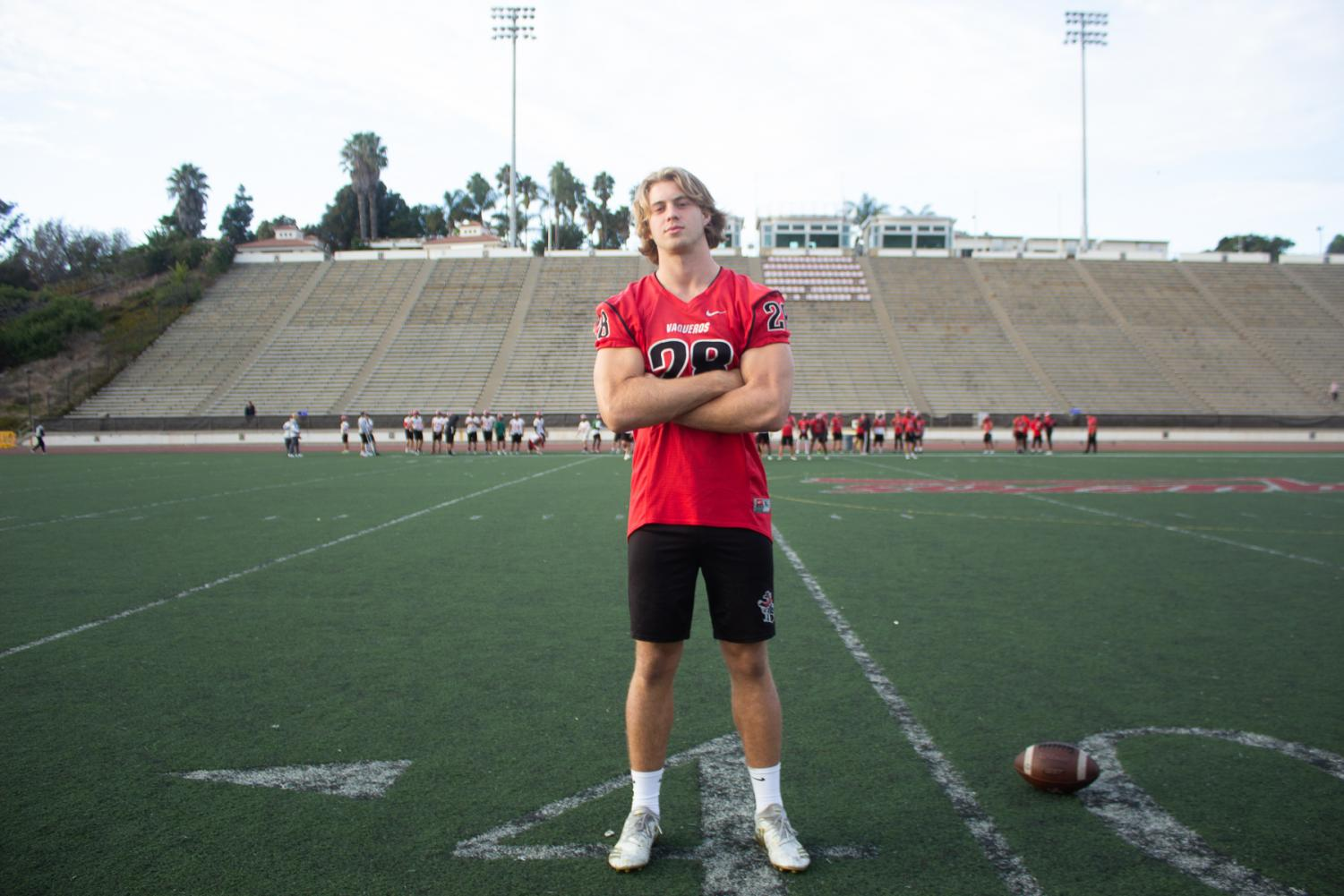 City College football player Jacob Shultz stands on La Playa Field before practice on Friday afternoon, Nov. 15, 2019, at City College in Santa Barbara, Calif. Shultz moved to Santa Barbara from Eugene, Ore. to play football for the Vaqueros as a defensive linemen.