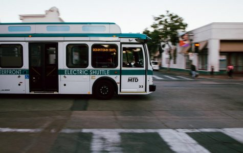 An MTD electric shuttle crosses W Ortega and State Street on Sunday, Nov. 24, 2019, in Downtown Santa Barbara, Calif.