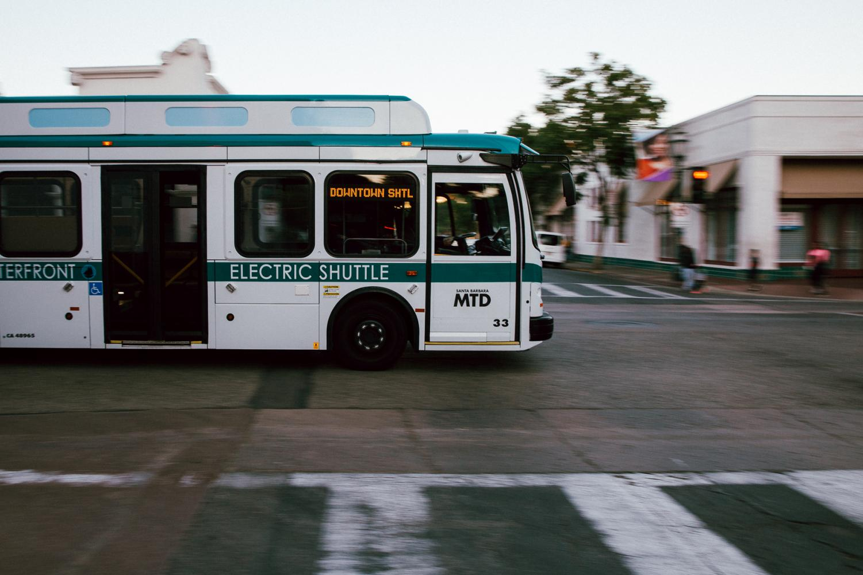 An MTD electric shuttle crosses W Ortega and State Street on Sunday, Nov. 24, 2019, in Downtown Santa Barbara, Calif.