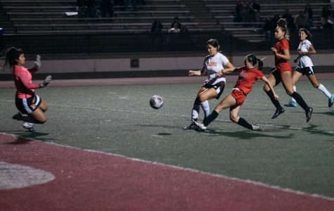 Alejandra Alvarez (No.20) shoots for a goal during the play-off game against Ventura on Saturday, Nov. 23, 2019, at La Playa Stadium at City College in Santa Barbara, Calif. The Vaqueros beat Ventura 2-1.
