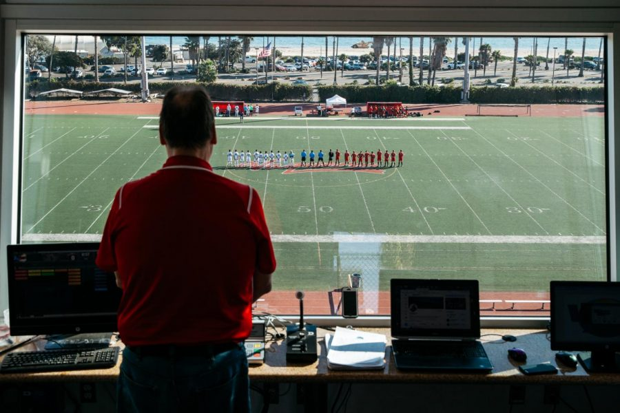 Dave Loveton stands for the national anthem before the City College soccer game against Moorepark on Friday, Nov. 8, at City College in Santa Barbara, Calif.