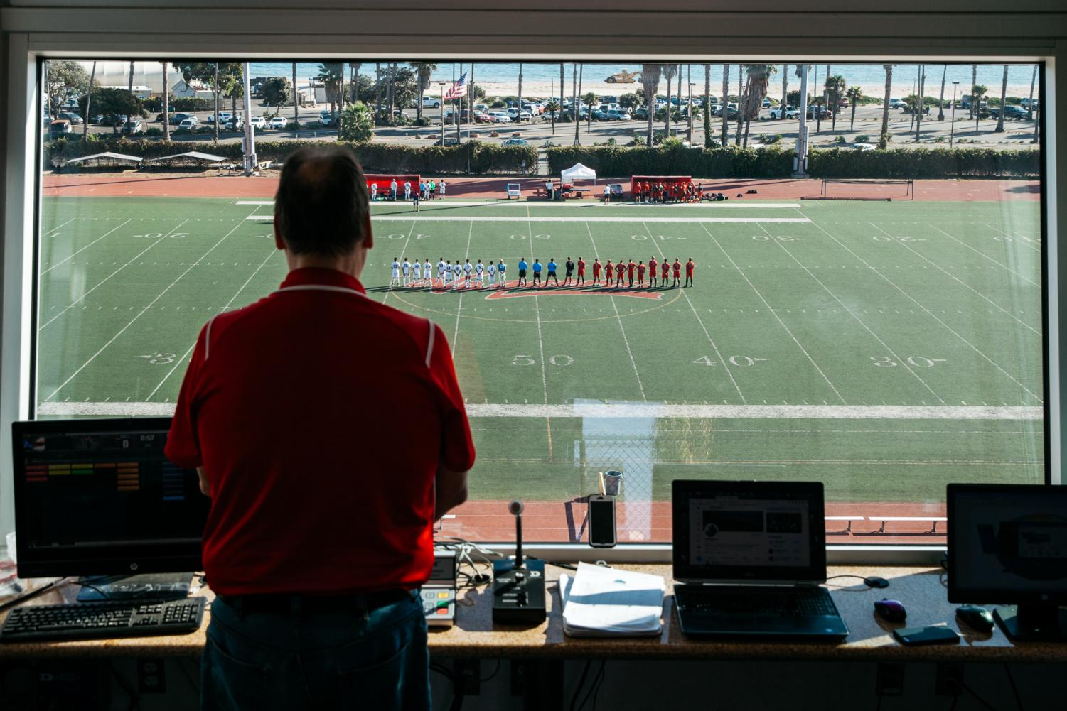 Dave Loveton stands for the national anthem before the City College soccer game against Moorpark on Friday, Nov. 8, at City College in Santa Barbara, Calif.