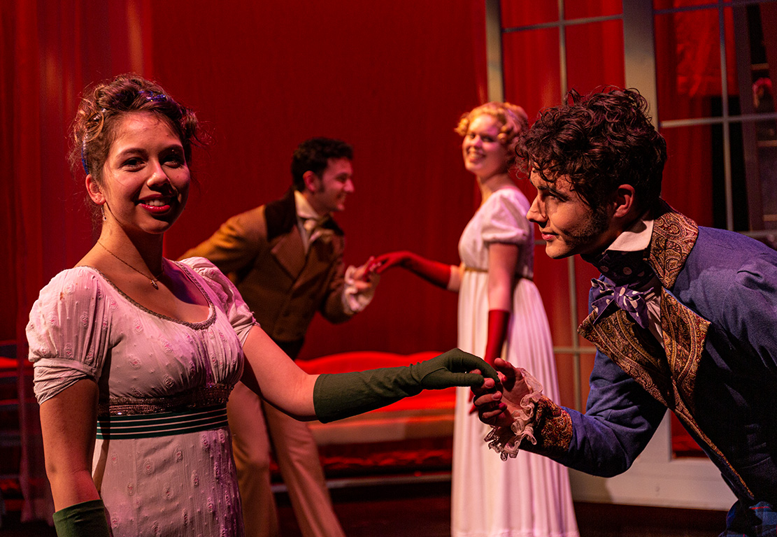 From left, Miranda Ortega, Ryan Ostendorf, Penny O'Mahoney and Ryan Rathbun in the SBCC Theatre Arts Department production of Jane Austen's SENSE AND SENSIBILITY by Kate Hamill, directed by Katie Laris.