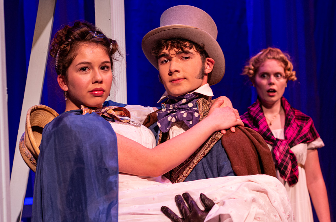 (l-r) Miranda Ortega, Ryan Ostendorf, Penny O'Mahoney and Ryan Rathbun in the SBCC Theatre Arts Department production of  Jane Austen's SENSE AND SENSIBILITY by Kate Hamill, Directed by Katie Laris, November 13-23, 2019, Jurkowitz Theatre, SBCC West Campus.