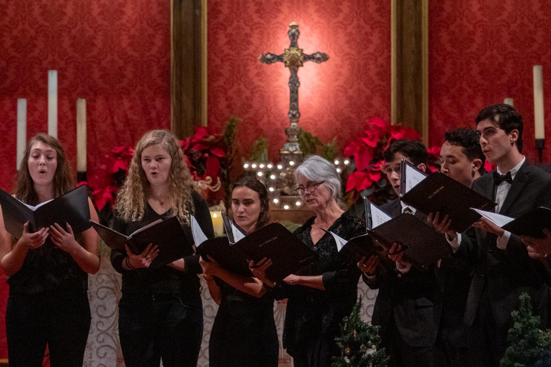 Members of the Concert Choir preform