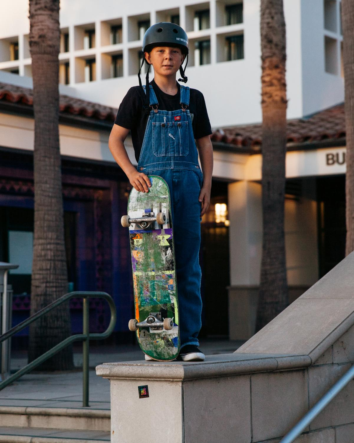 Santa Barbara Junior High School student Jack Charrette stands on a five stair cheek-wall cap before attempting to ollie off it on Thursday, Nov. 17, in front of the Business Communications Center. Charrette, 12-years-old, likes to skate the CC with his friends after school.