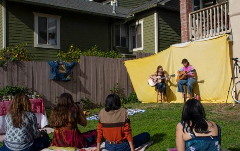 From left, The Yackenlada Sisters Hana Ulep and Hailey Zheng play for the crowd at the Venus Collective popup on Friday, Jan. 24, 2020 in Santa Barbara, Calif.