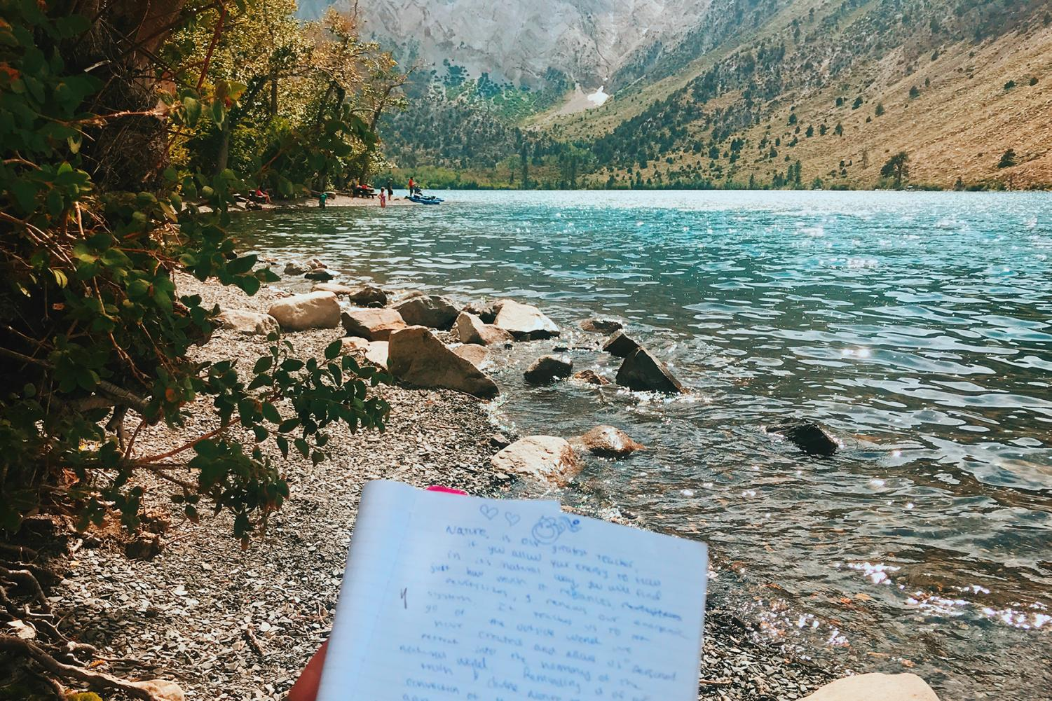 Journaling about the power of nature at Convict Lake in the springtime.