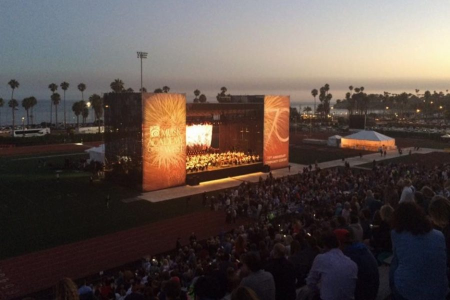 The New York Philharmonic orchestra performs at La Playa Stadium on July 31, 2017, in Santa Barbara, Calif.