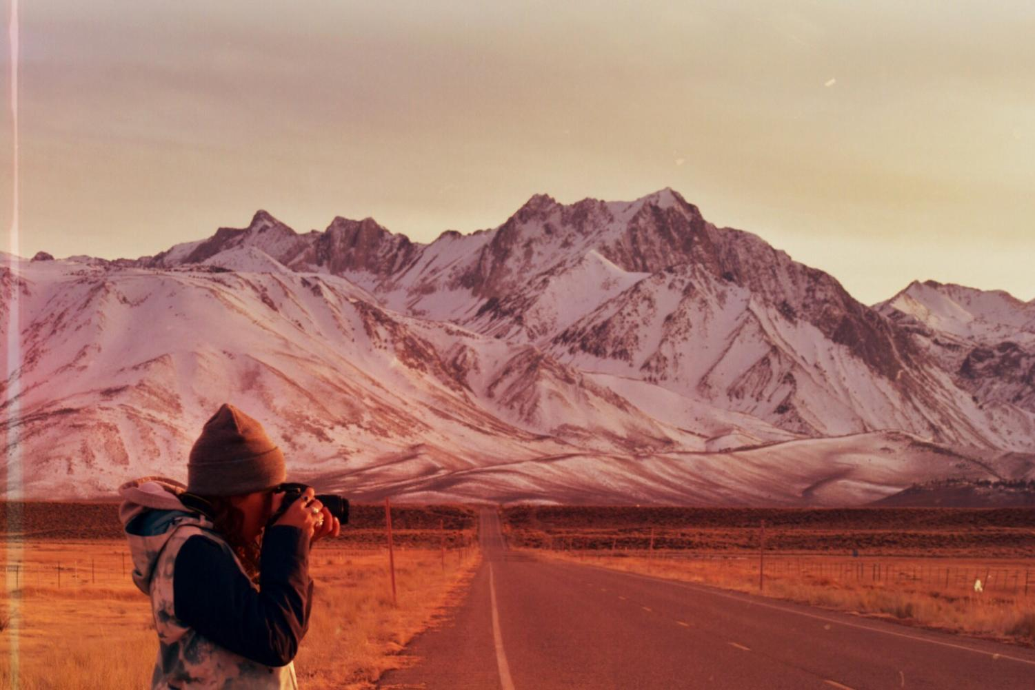 Shooting photos of the Minarets and Mammoth Mountain.