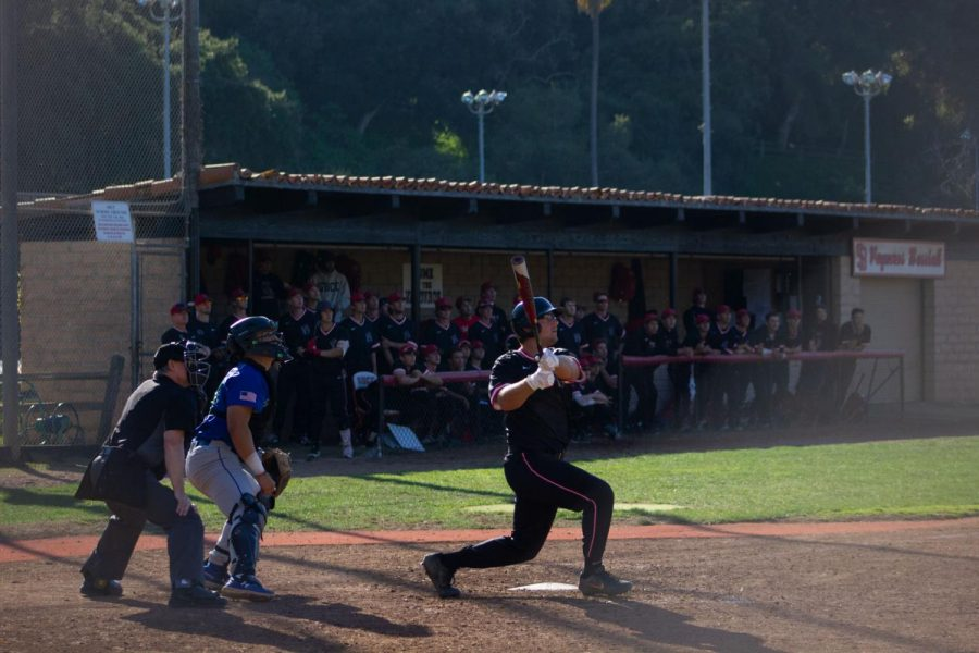 Jacob Bravo hits a two-run home run in the bottom of the fifth inning at Pershing Park in Santa Barbara, Calif. Bravo drove in three runs in the Vaqueros' 10-1 victory over the Oxnard Condors.
