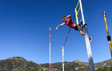 "Vaqueros Pole Vaulter Brett Craft clears 4.4 meters (14'5"") at his first college track meet on Saturday, Feb. 1, 2020 at Westmont College is Santa Barbara, Calif."