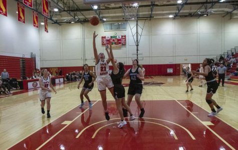Hannah Sabin (No.23) posts up and makes her layup on Wednesday, Feb. 19, 2020, in the Sports Pavilion in the City College in Santa Barbara, Calif.
