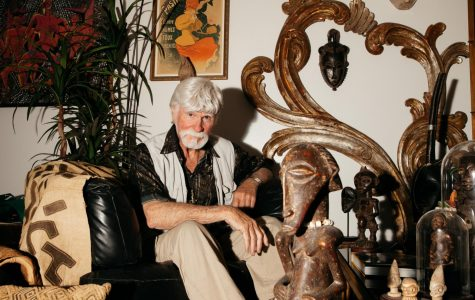 African art scholar, collector and international dealer Ron Atwood surrounds himself with his rich collection of artwork in his home in Santa Barbara, Calif. Atwood is currently taking a vocal class at City College and after 52 years he is the longest established african art dealer on the west coast.