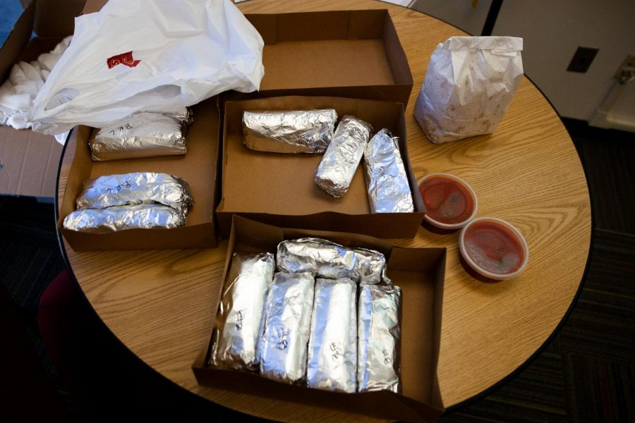 Leftover breakfast burritos from Rudy's Mexican Restaurant just after the Associated Student Government meeting adjournment on Friday, Jan. 31, 2020, in the ASG meeting room CC 223 at City College in Santa Barbara, Calif.