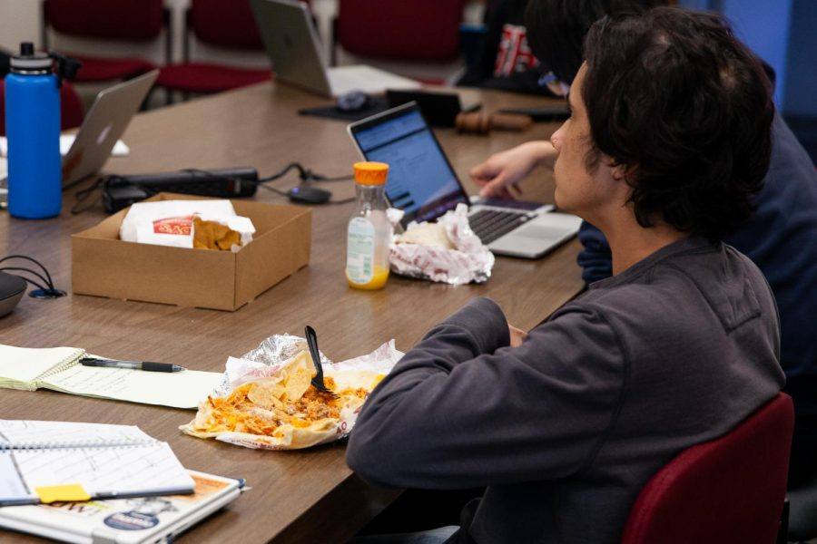 The Associated Student Government caters their meetings with food from restaurants like Rudy's Mexican Restaurant and Denny's to eat throughout the meeting.