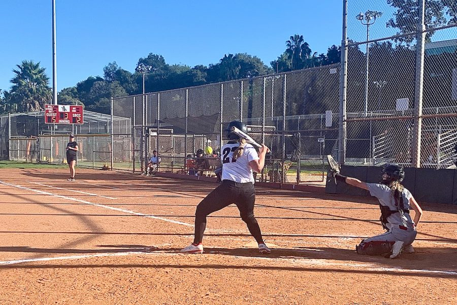 Lauren Del Campo prepares to swing in the bottom of the third inning in the second game of the Vaqueros' double header against Saddleback College on Saturday, Feb. 1, at Pershing Park in Santa Barbara, Calif. The Vaqueros lost to the Gauchos 11-2.