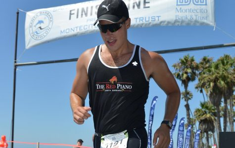 Connor Newsum crosses the 2019 Santa Barbara Triathlon finish line Aug. 24, 2019 in Santa Barbara, Calif.