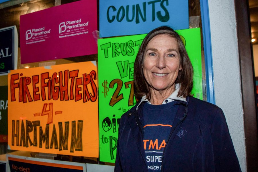 Third District Supervisor candidate Joan Hartmann stands outside of her base of operation on Tuesday, March 3, 2020, in Isla Vista, Calif.