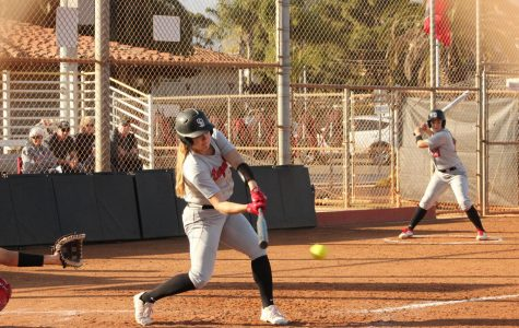 Designated hitter Hannah Weaver (no. 17) hits a hard line-drive to the Chaffey pitcher on Friday, March 6, 2020 at Pershing Park in Santa Barbara, Calif. Weaver did not have a base hit on the day, but she walked twice.