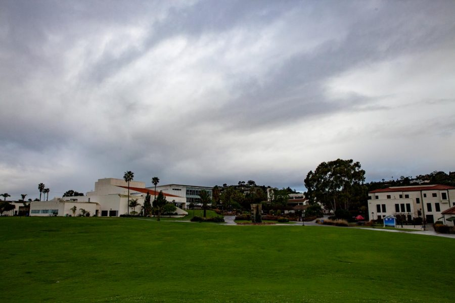 Rain from storm clouds above Santa Barbara falls over City College's deserted campus in the wake of the coronavirus pandemic forcing the college to close campus and transfer to online learning on Tuesday morning, March 17, 2020, on West Campus at City College in Santa Barbara, Calif.