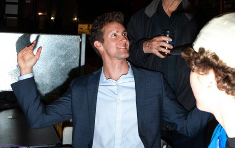 District 37 candidate to the California State Assembly election Charles Cole reacts to voting results on Tuesday, March 3, 2020 at Persona Pizza in Downtown Santa Barbara, Calif. Cole is the sole republican of seven candidates and currently holds first place with over four thousand votes above Cathy Murillo in second.