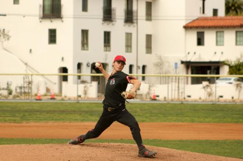 Toby Spach pitches in the fourth inning of the Vaqueros' first game against the Allan Hancock Bulldogs on Monday, March 9, 2020, at Pershing Park in Santa Barbara, Calif. Spach pitched four no-hit innings where he walked one batter and struck out six.