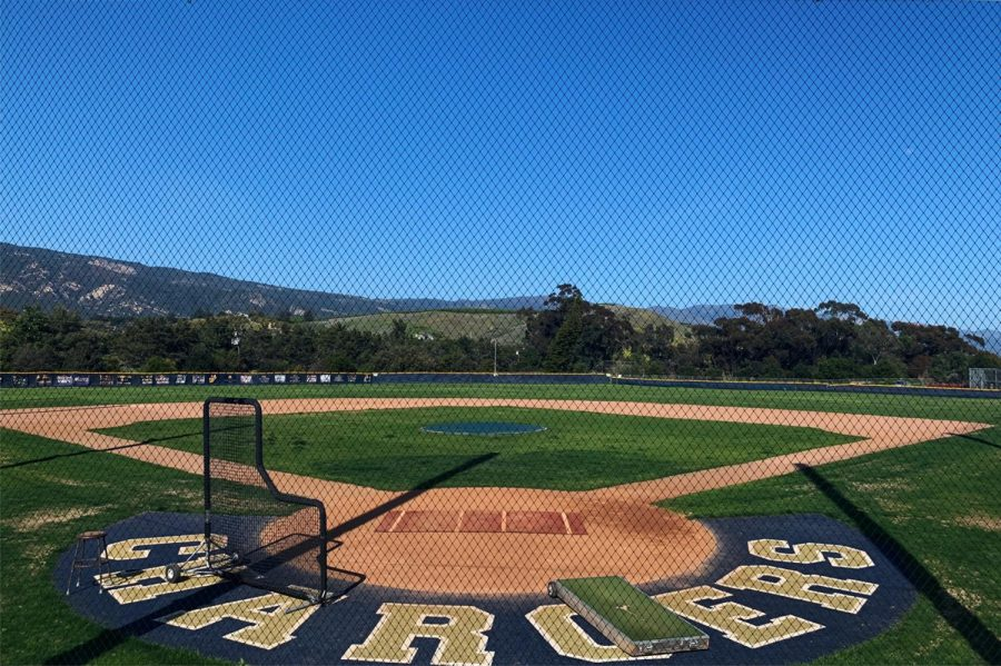 Dos Pueblos High's Scott O'Leary Field in Goleta, Calif. is void of any real games through the rest of the season due the coronavirus pandemic. The field stands behind extended netting which will likely see no action as CIF cancels all spring sporting events on Apr. 3.