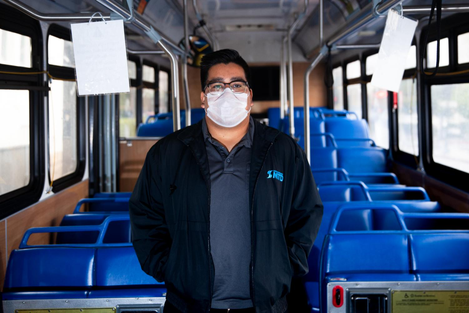 "Kevin Escobar has driven for MTD for nearly two years and feels he is at high risk for contracting COVID-19. ""A lot more homeless people are riding because we're offering free rides and when they come on coughing I feel trapped in here."" Escobar said."