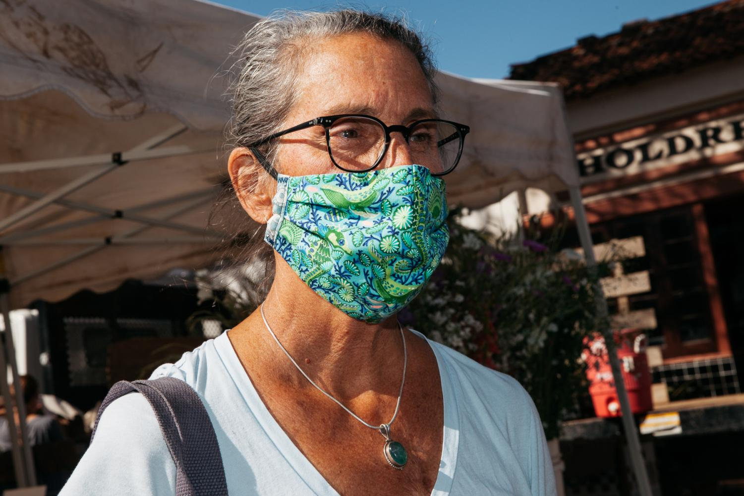 Kate Maxfield in a mask she made from fabric she found while cleaning out her house while sheltering in place on Tuesday, April 21, in Santa Barbara, Calif. Maxfield has since made masks for nearly 50 people.