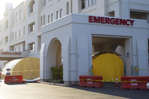 Triage tents stand outside the entrance to the Marian Regional Medical Center emergency department on Thursday, April 23, 2020 in Santa Maria, Calif. The tents are vacant but are available for a potential influx of patients at the hospital.